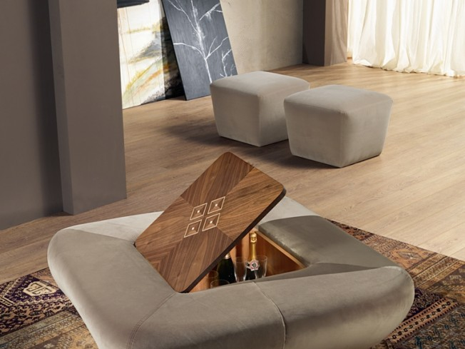Carpanelli contemporary morfeo pouf table basse avec bar int gr po42 abo - Table basse avec bar integre ...